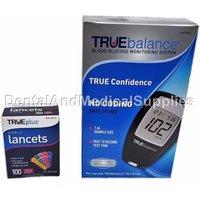 100 33G Sterile Lancets + True Balance Blood Glucose Meter + Lancing Device