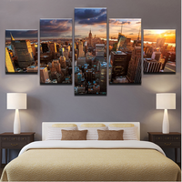 5 Piece New York City Building Sunset Canvas Prints Painting Wall Art Home Décor