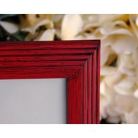 Red 8x10 wood picture frame, Country farmhouse home decor, Christmas gift ideas