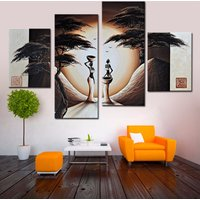 4 Pcs African Women Wall Art Hand Painted Canvas Oil Painting Unframed