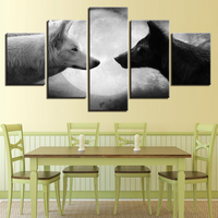 5 Panel Black White Wolves Moon Night Canvas Prints Painting Wall Art Home Décor
