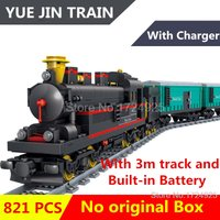 SA Railway Train with Tracks Minifigure Block Lego Set Model Bricks Kids Toys fo