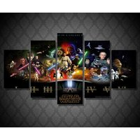 5 Pcs Star Wars Movie Wall Picture Home Decor Printed Canvas Painting