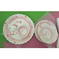 HELLO KITTY Enamel Porcelain Lace Pattern Ceramic Plate & Bowl 5 pcs Serving Set