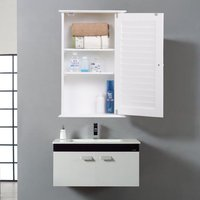 white-wall-cabinet-storage-home-organizer-bathroom-cupboard-kitchen-mount-new