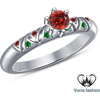 Round Cut Red Garnet 925 Sterling Silver White Gold Over Ladies Engagement Ring