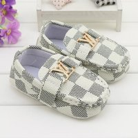 White Baby Soft Bottom Toddler Shoes Checked Style Walking Shoes L164