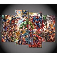 4 Pcs Marvel Heros Comics Wall Picture Home Decor Printed Canvas Painting