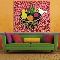 1 Pcs Bird And Vegtables By Yayoi Kusama Wall Picture Canvas Painting 24x28inch