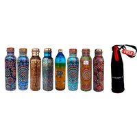 rastogi-handicrafts-hand-painted-multi-colored-copper-water-storage-bottle-art-w