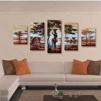 5 Pcs Sexy Nude African Women Wall Art Hand Painted Canvas Oil Painting Unframed