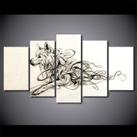 5 Pcs HD Printed Artistic Running Wolf Animal Poster Picture Canvas Painting