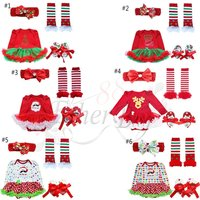 4Pcs Toddler Baby Infant Clothes Dress Girl Xmas Outfit Tutu Newborn Romper Set