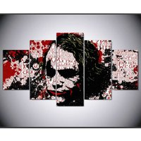 Joker painting red white black  5 Piece Canvas Art Wall Art Picture Home Decor
