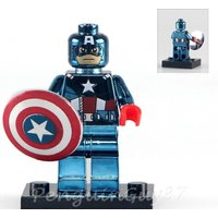 Custom Chrome Captain America Minifigure Marvel Comics fits with Lego UK Seller