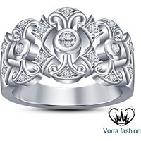 White Cubic Zirconia 925 Silver 14K White Gold Fn Women's Engagement Band Ring