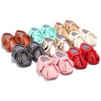 8 Color Baby Leather Walking Shoes Soft Bottom Tassel Toddler Shoes HZ0109