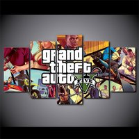 5 Pcs Grand Theft Auto Game Home Decor Wall Picture Printed Canvas Painting