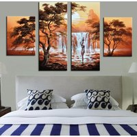 4 Pcs African Waterfall Women Wall Art Hand Painted Canvas Oil Painting Unframed