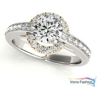 Halo Round Cut Diamond White Gold Plated 925 Silver Solitaire With Accents Ring