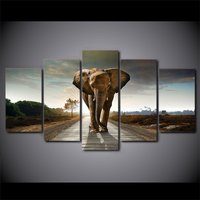 5 Pcs Africa Elephants Landscape Home Decor Wall Picture Printed Canvas Painting