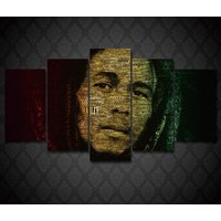 5 Pcs Bob Marley Singer Home Decor Wall Picture Printed Canvas Painting