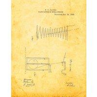 Spiral Spring Patent Print - Golden Look