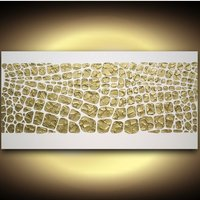 ORIGINAL Art Abstract Painting Textured Modern Palette Knife Metallic Gold white