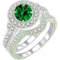 1.75Ctw Round Emerald & Simulated Diamond 14K White Gold Over Bridal Ring Set