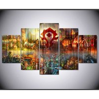 World of Warcraft horde  5 Piece Canvas Art Wall Art Picture Home Decor
