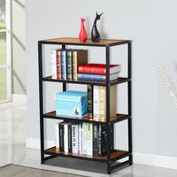 4-shelf-metal-multipurpose-bookcase-modern-studio-collection-display-stand-new