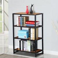4-shelf-metal-multipurpose-bookcase-modern-studio-collection-display-stand-new