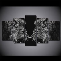 5 Pcs Black White Lion Mirror Home Decor Wall Picture Printed Canvas Painting