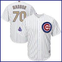 #70 Joe Maddon Chicago Cubs Gold Number Mlb Baseball Jersey - White M-3xl