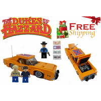 Lego MOC Dukes Of Hazzard General Lee With Bo, Luke & Rosco Minifigures