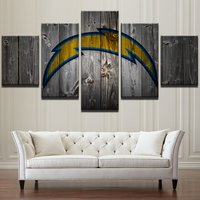 5 Pcs San Diego Chargers Rugby Wall Picture Home Decor Printed Canvas Painting
