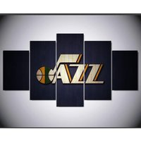 Utah jazz logo painting  5 Piece Canvas Art Wall Art Picture Home Decor