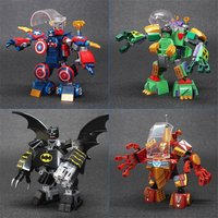 4pcs Batman Iron Man Captain America Hulk Mecha Robot Lego Minifigure toys Set