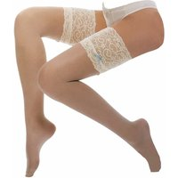 Women 10 Den Stay Up Silicone Vintage Deep Lace Top Thigh High Hold Ups with Bow
