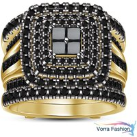 Princess Cut Black Diamond Yellow Gold Plated 925 Silver Wedding Wrap Ring Set