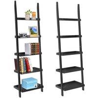 black-5-tier-leaning-ladder-shelf-bookshelf-bookcase-storage-shelves-unit