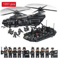 1351pcs Military Swat Team model Minifigure transport helicopter Fit Lego Block