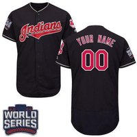 Personalized Cleveland Indians World Series Baseball Flexbase Jersey Navy M-3xl