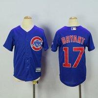 17 Kris Bryant - Kids Chicago Cubs Blue 2017 Champions Gold Program Jerseys