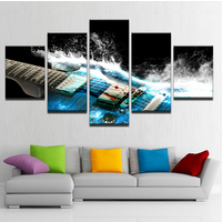 5Pcs Abstract Blue Guitar Painting HD Printed Canvas Wall Art Picture Home Décor
