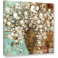 White Flowers Vase Bouquet Wall Art PRINT stretched Canvas Abstract Modern Art
