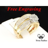 18k Gold Plated Solid 925 Silver Round Cut Diamond Bridal Engagement Ring Set