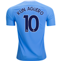 All New Kun Aguero #10 Manchester City Home 17/18 Men Soccer Jersey + Epl Badge