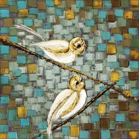 Love Birds on a Branch Wall Art PRINT on Stretched Wired Ready to hang Canvas