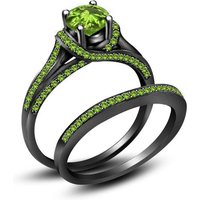 Round Peridot 14K Black Gold Over Womens Bridal Ring Set 925 Stering Silver
